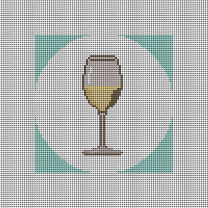 White Wine Coaster Needlepoint Canvas