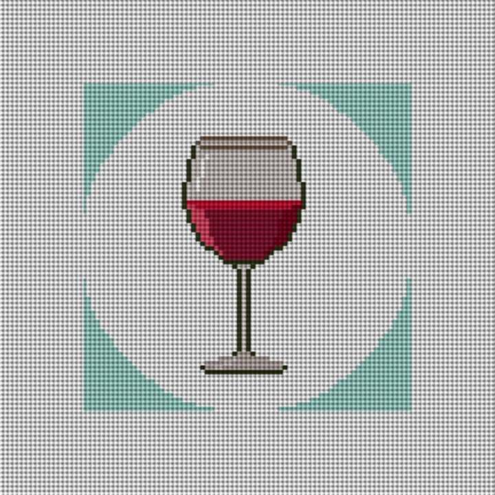 Red Wine Coaster Needlepoint Canvas