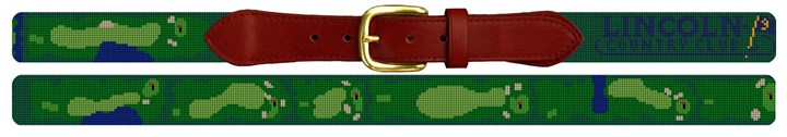 Lincoln Country Club Golf Course Needlepoint Belt