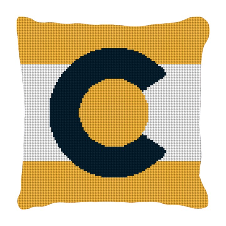 Black and Gold Colorado Needlepoint Pillow