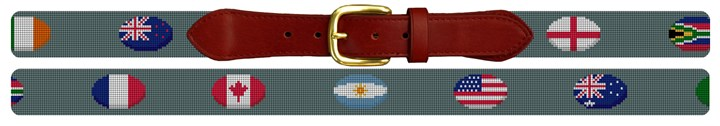 Rugby Nations Needlepoint Belt