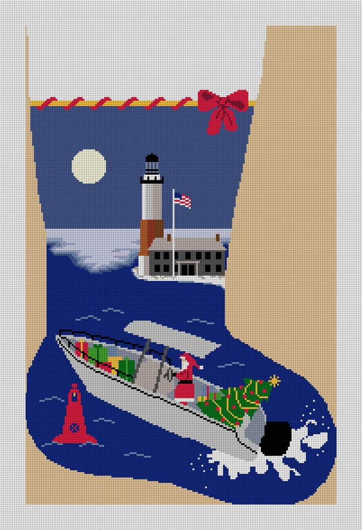 Santa Fishing Needlepoint Stocking Canvas