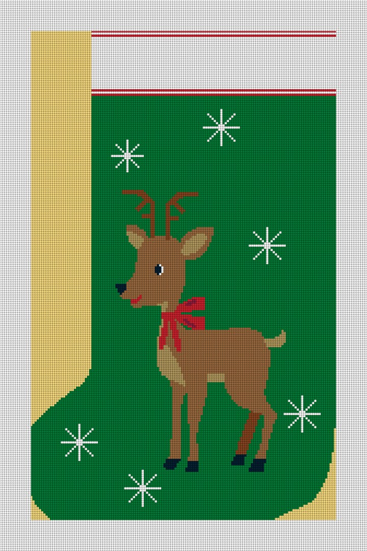 Reindeer Christmas Stocking Needlepoint Canvas