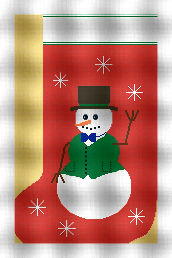 Snowman Christmas Stocking Needlepoint Canvas