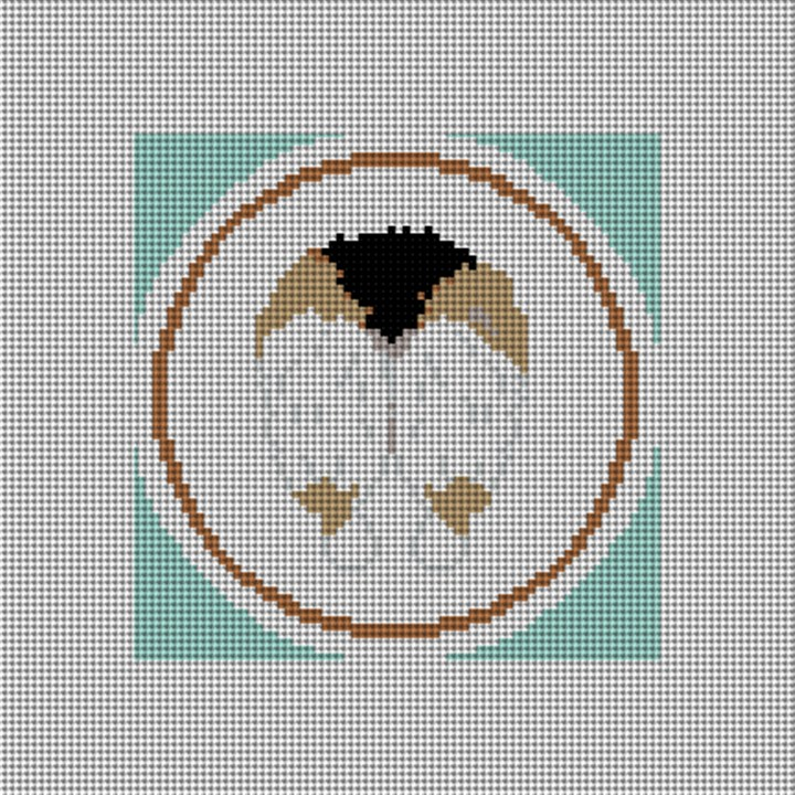Dark Brown Corgi Backside Needlepoint Canvas