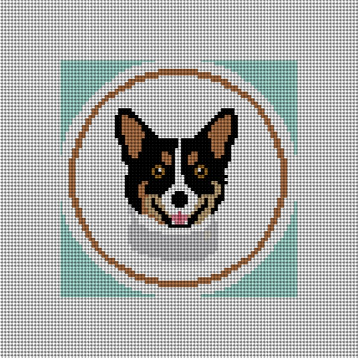 Dark Brown Corgi Ornament Needlepoint Canvas