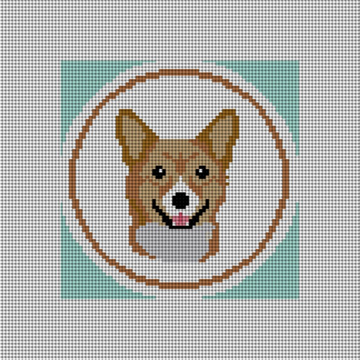 Light Brown Corgi Ornament Needlepoint Canvas