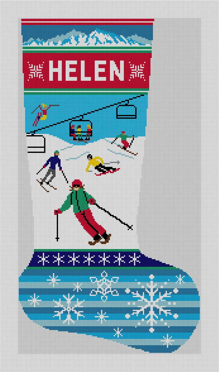 Holiday Ski Christmas Stocking Needlepoint Canvas