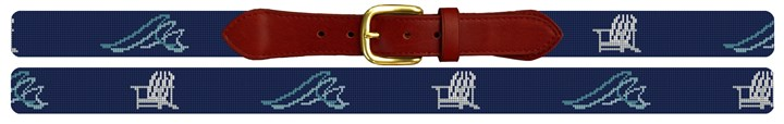 Beach Waves Needlepoint Belt