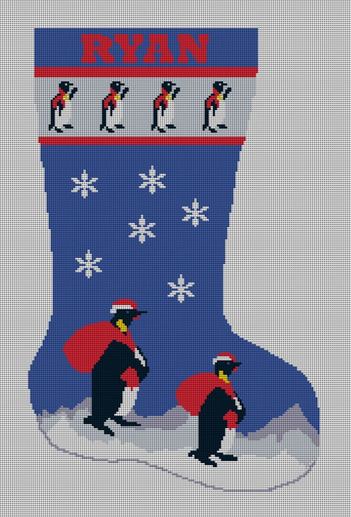 Penguins Christmas Stocking Needlepoint Canvas