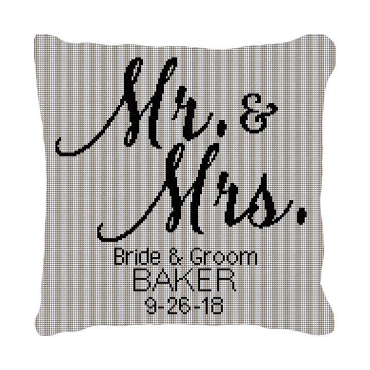 Mr. and Mrs. Needlepoint Wedding Pillow Canvas