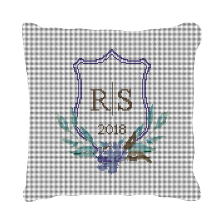 Wedding Crest Needlepoint Wedding Pillow Canvas