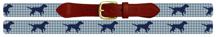 Gingham Labrador Retriever Needlepoint Belt