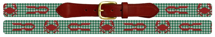 Gingham Crab and Cracker Needlepoint Belt