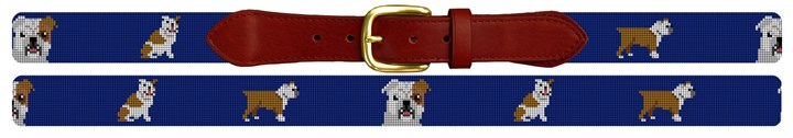 English Bulldog Needlepoint Belt