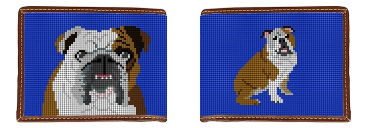 English Bulldog Needlepoint Wallet Canvas