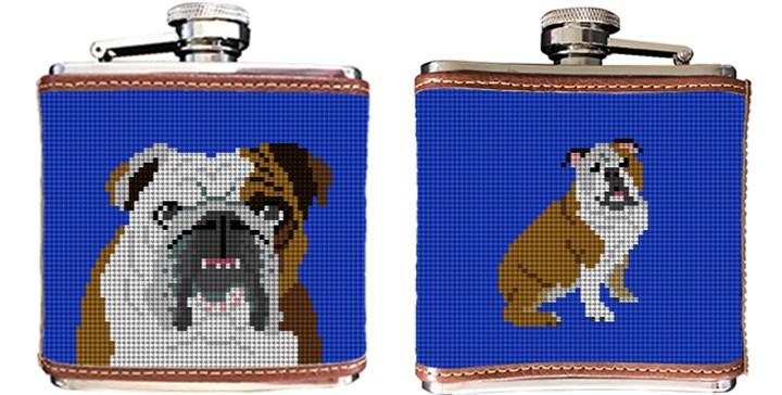 English Bulldog Needlepoint Flask