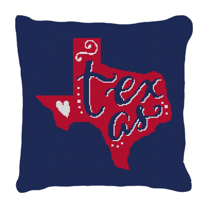 Texas Red and Blue Needlepoint Pillow