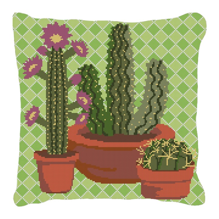 Western Green Cactus Needlepoint Pillow
