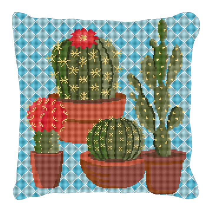 Southwestern Blue Cactus Needlepoint Pillow