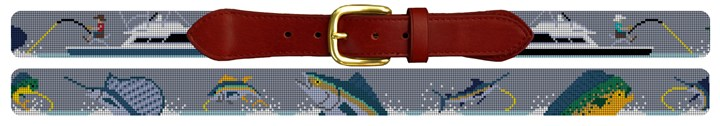 Saltwater Fishing Needlepoint Belt