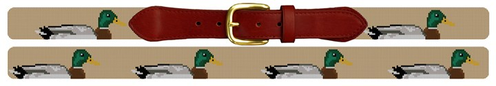 Preppy Mallard Needlepoint Belt