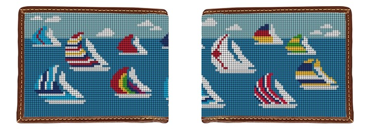 Sailing Regatta Needlepoint Wallet
