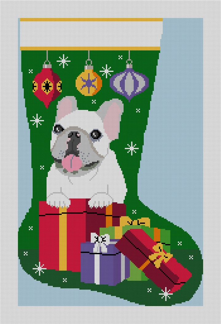 French Bulldog Stocking Needlepoint Canvas