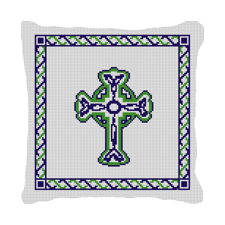 Celtic Cross Wedding Needlepoint Pillow