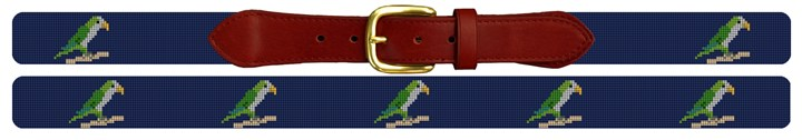 Preppy Parrot Needlepoint Belt