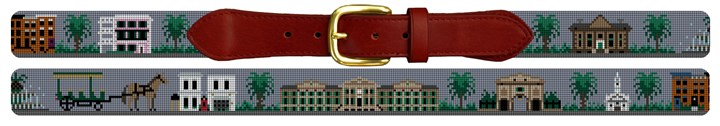Charleston Landscape Needlepoint Belt