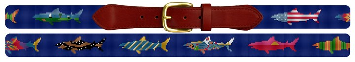 Chatham Great White Shark Needlepoint Belt