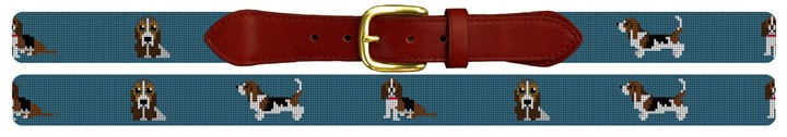Basset Hound Needlepoint Belt