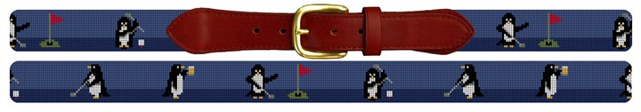 Penguins on Par Needlepoint Belt