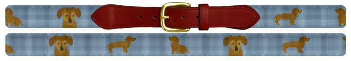 Brown Dachshund Needlepoint Belt
