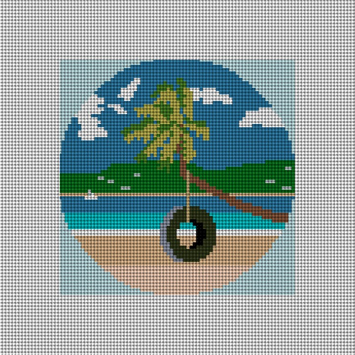 Tropical Island Needlepoint Ornament Canvas