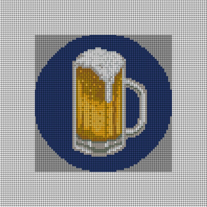 Beer Mug Needlepoint Ornament Canvas