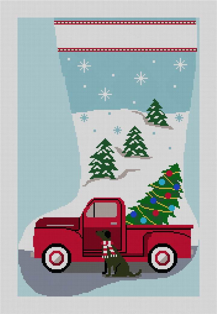 Classic Red Truck Stocking Needlepoint Canvas