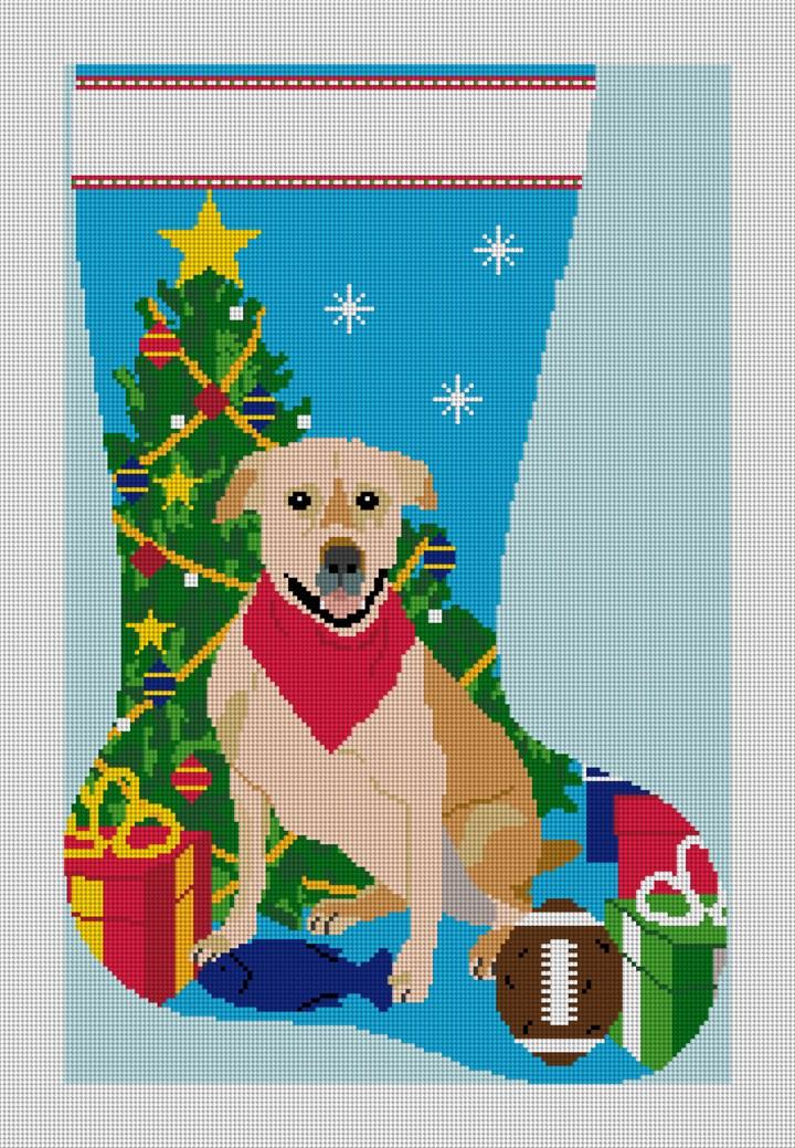 Labrador Retriever Stocking Needlepoint Canvas