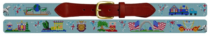 Mardi Gras Parade Needlepoint Belt