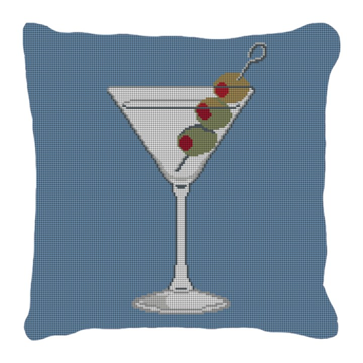 Marvelous Martini Needlepoint Pillow