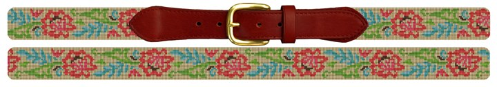 Fancy Floral Needlepoint Belt