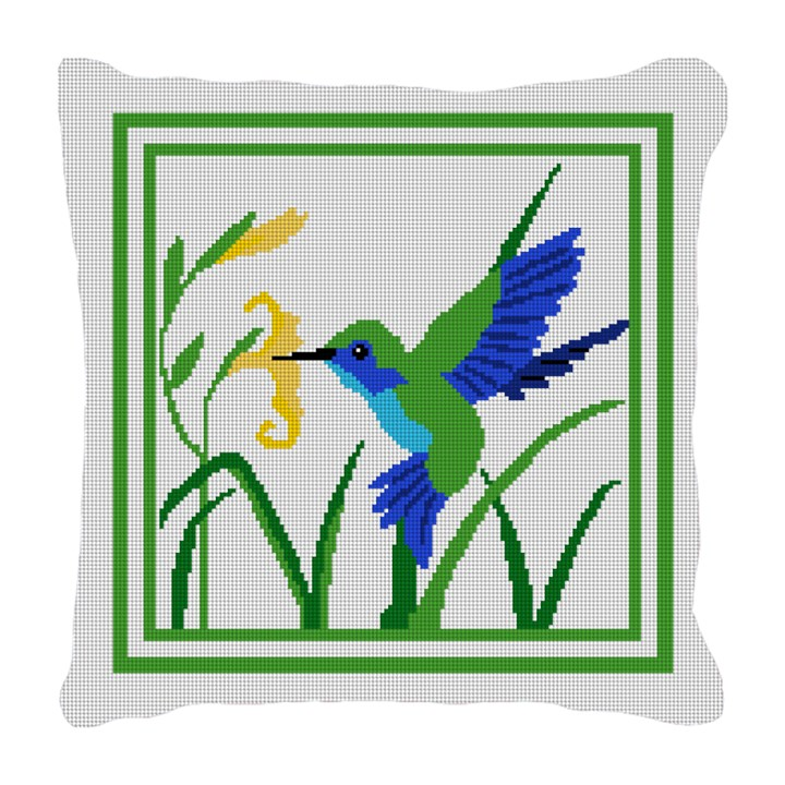 Hummingbird Needlepoint Pillow