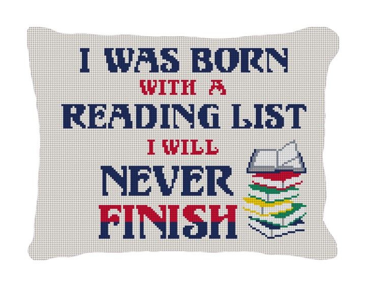Reading List Needlepoint Pillow