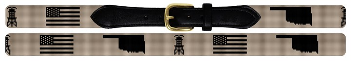 Oklahoma Oil Needlepoint Belt