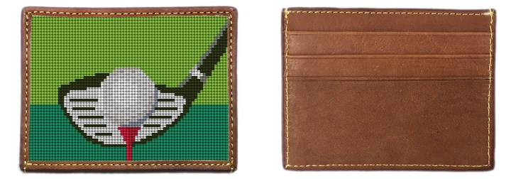 Golfers Needlepoint Card Wallet