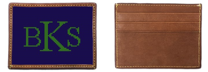 Monogram Needlepoint Card Wallet