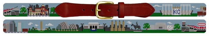 Kansas City Landscape Needlepoint Belt