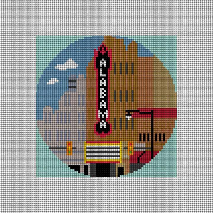 Alabama Theatre Needlepoint Ornament Canvas
