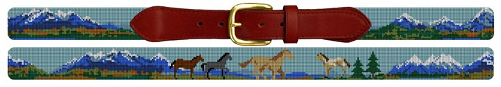Natural Landscape Needlepoint Belt